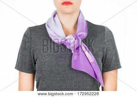 Silk Scarf. Lilac Silk Scarf Around Her Neck Isolated On White Background.