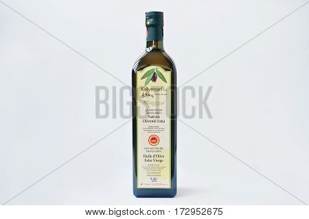 Athens, Greece - February 22, 2017: Greek Native Olive Oil Kolympari S.a.