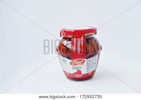 Athens, Greece - February 22, 2017: Italian Dried Tomatoes Pickled In Jar La Cerignola Di Una Volta.