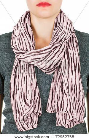 Silk Scarf. Pink Silk Scarf Around Her Neck Isolated On White Background.