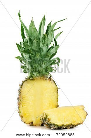 pineapple cut isolated on a white background.