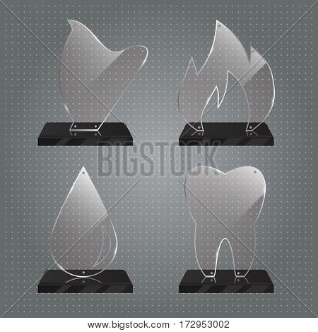 Set of realistic transparent glass trophy awards standing on black base and isolated on gradient background. Different shapes provided. Harp, tooth, flame, drop. Vector illustration.