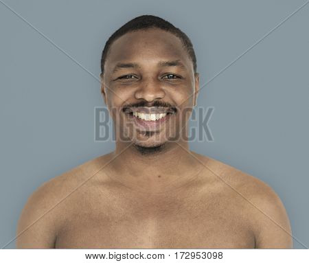 African Man Smiling Happiness Bare Chest Studio Portrait