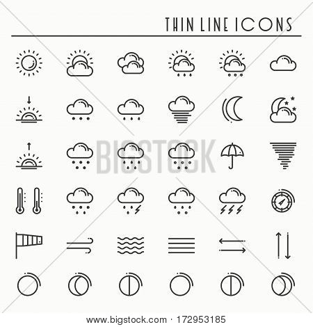 Weather pack line icons set. Meteorology. Weather forecast design elements. Template for mobile app, web and widgets.Vector style linear icons. Isolated illustration. Symbols. Black and white.
