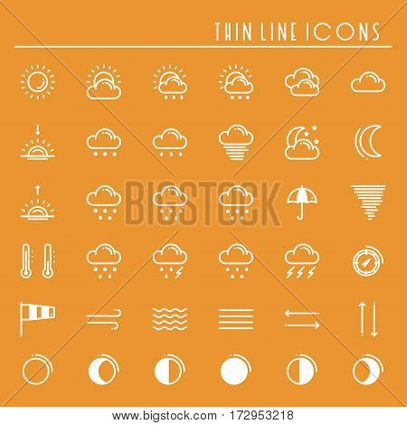 Weather pack line icons set. Meteorology. Weather forecast design elements. Template for mobile app, web and widgets.Vector style linear icons. Isolated illustration. Symbols. Orange