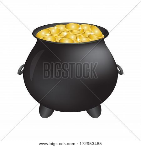 Treasure full of gold coins with cauldron