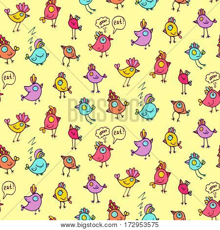 Cute colorful birds vector seamless pattern. Endless childish design backround.