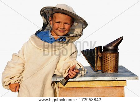 beekeeper a young boy who works in the apiary. Apiculture. Isolated on white background.