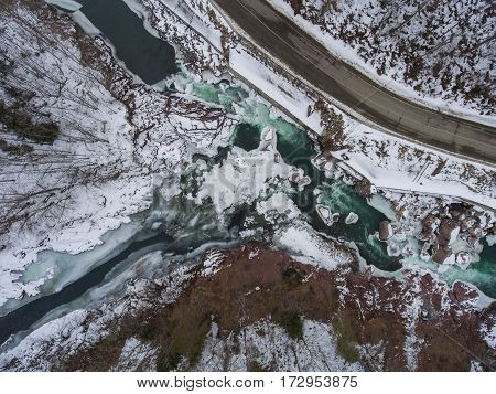 Aerial View Of The Confluence Of Two Rivers.