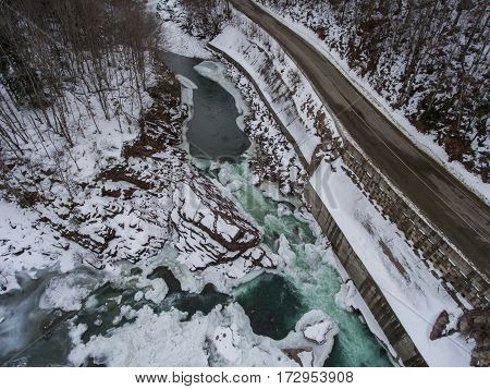 Winter Scenery. Aerial View Of The Confluence Of Two Rivers.