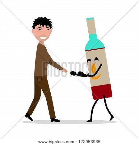 Vector illustration cartoon young adult man with bottle alcohol. Isolated white background. Concept male alcoholism, dependence on alcoholic beverages. Flat style. Beggar alcoholic with a bottle.