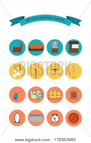 Set of isolated icons of furniture lighting and home accessories.