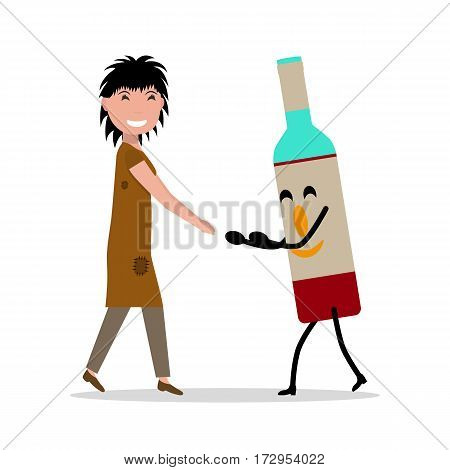 Vector illustration cartoon young adult woman with bottle alcohol. Isolated white background. Concept female alcoholism, dependence on alcoholic beverages. Flat style. Beggar alcoholic with a bottle.