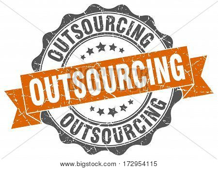 outsourcing. stamp. sign. seal. round. retro. ribbon