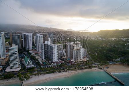Stock aerial photo of Waikiki Beach Honolulu