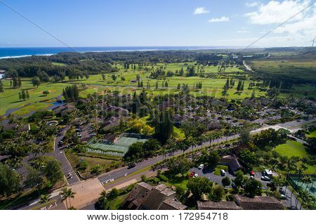 Aerial image Turtle Bay Resort and Golf Course Oahu Hawaii