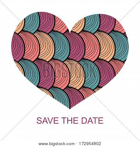 Wedding romantic invitation card with hand drawn heart. Save the Date invitation in vector