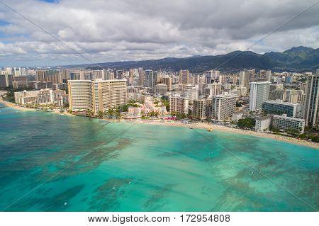 Aerial image of Waikiki Beach honolulu oahu Hawaii