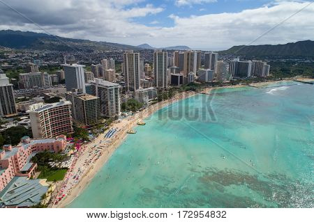 Aerial image of Waikiki Beach honolulu oahu Hawaii