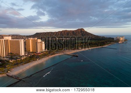 Aerial image of a sunset in Waikiki Beach Oahu Hawaii