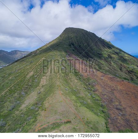Aerial image of Koko Crater trail volcano