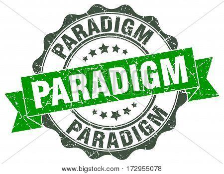 paradigm. stamp. sign. seal. round. retro. ribbon