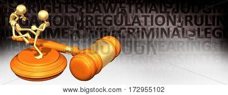 Law Legal Gavel Concept With The Original 3D Character Illustration Kicking Another