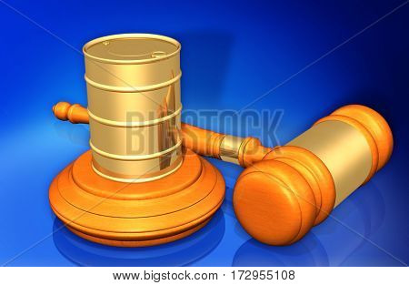 Oil Barrel Law Legal Gavel Concept 3D Illustration
