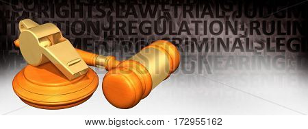 Whistle Blower Protection Law Legal Gavel Concept 3D Illustration