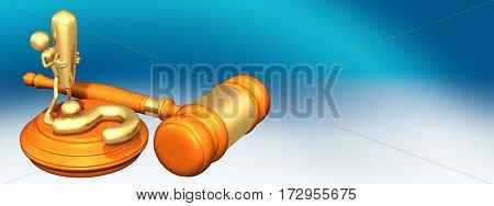 Question Legal Gavel Concept With The Original 3D Character Illustration