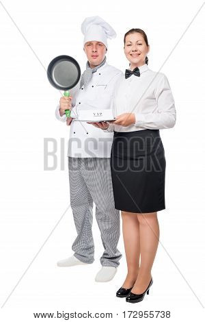 Man With A Frying Pan And Cook Woman Waiter With A Tray On A White Background