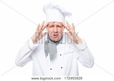Weary Chef His Hands Holding Aching Head On A White Background