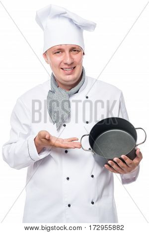 Cheerful Cook With An Empty Pan On A White Background In Studio