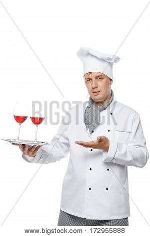 Young Chef Holding A Tray Of Two Glasses Of Red Wine In The Studio