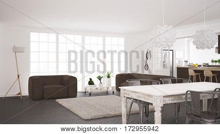 Minimalist White And Brown Living And Kitchen, Scandinavian Classic Interior Design