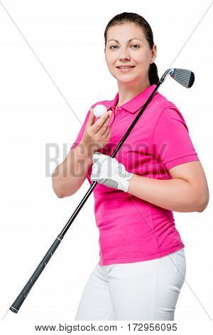 Young Professional Golfer Posing On A White Background