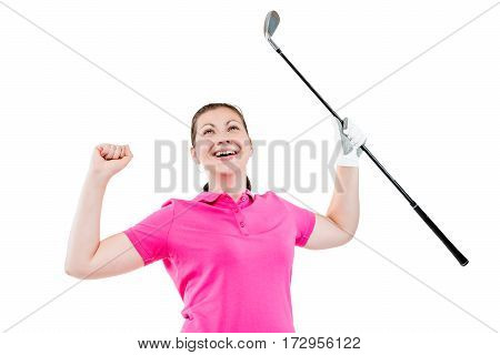 Elated Golfer Enjoys Winning, The Portrait On A White Background