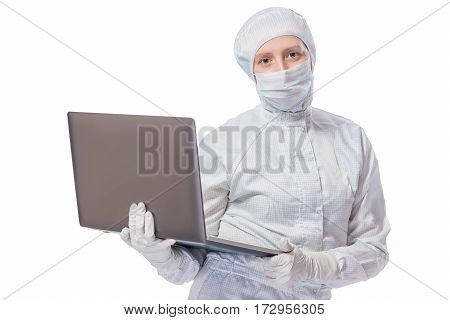 Horizontal Portrait Of Biologist With A Laptop In The Hands Isolated On White Background