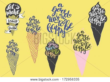 Sweet summer Hand drawn lettering with silhouette ice cream cone, typography A good reason to be happy on the yellow background.  Inspiring label, greeting card, template, poster, banner