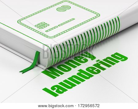Money concept: closed book with Green Credit Card icon and text Money Laundering on floor, white background, 3D rendering