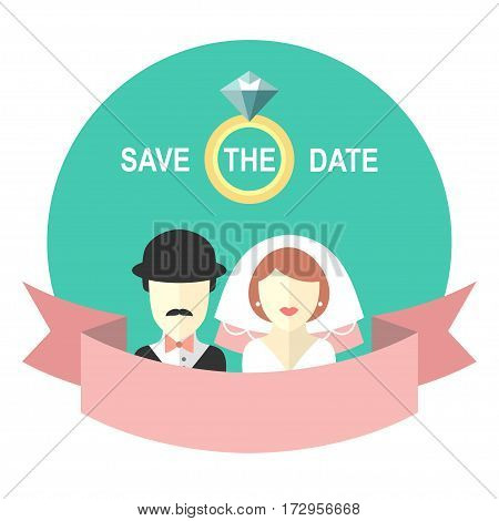 Wedding romantic invitation card with ribbon, ring, bride and groom in flat style. Save the Date invitation in vector