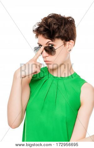 Portrait Of A Woman In Sunglasses Stylish Look On A White Background