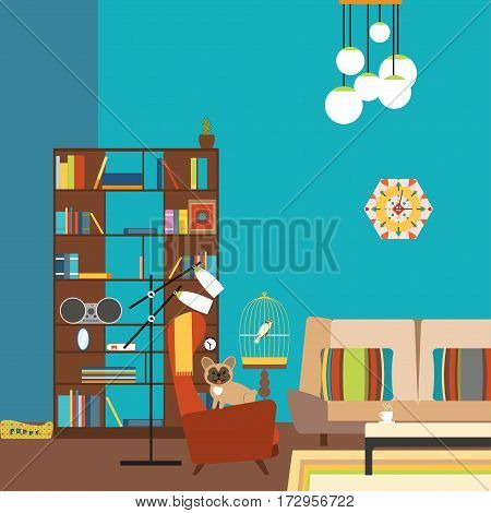 Vector illustration of a room in the style of 70s with bookcase sofa armchair floor lamp dog parrot.