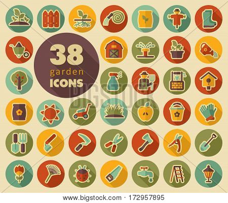 Garden Farm flat vector icon outline isolated garden eps 10