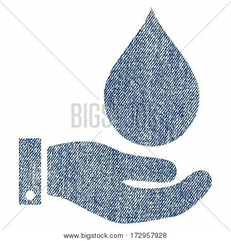 Water Service vector textured icon for overlay watermark stamps. Blue jeans fabric vectorized texture. Symbol with unclean design. Blue ink rubber seal stamp with fiber textile structure.
