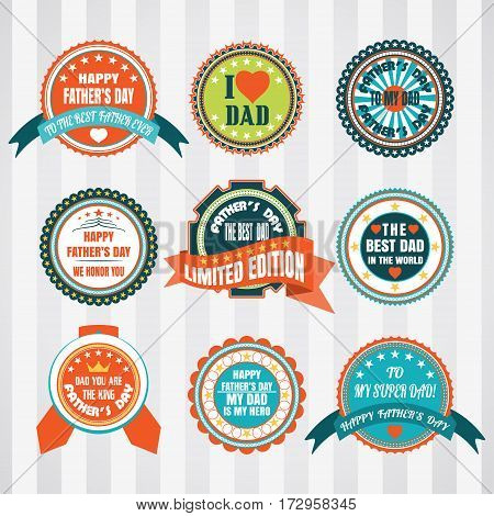 Vintage labels vector set for father's day. Retro labels vector set for happy father's day.