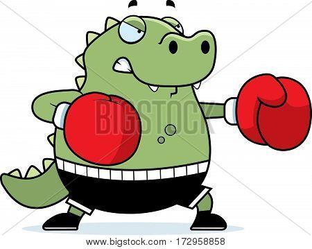 Cartoon Lizard Boxing