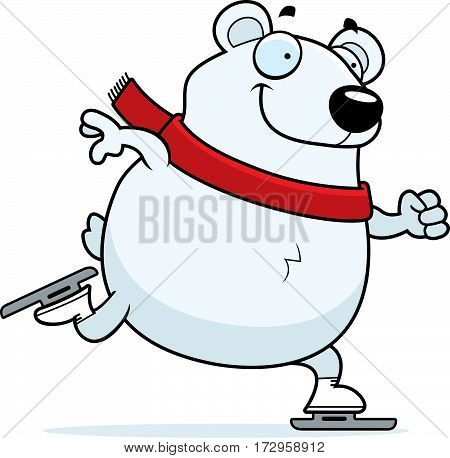 Cartoon Polar Bear Ice Skating