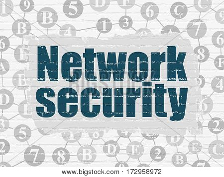 Safety concept: Painted blue text Network Security on White Brick wall background with Scheme Of Hexadecimal Code