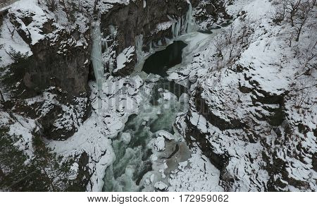 Winter Landscape. River Flowing In Granite Canyon.